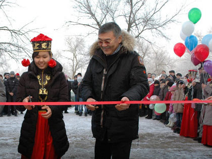 Head of the Republic of Kalmykia Alexey Orlov on the opening ceremony Artesian High School